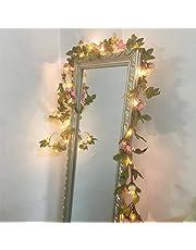 FLCSIed 2 Meter 20 LED Bloem Blad Garland Koper LED Fairy String Lights voor Bruiloft Decoratie Party Event met Timer Functie (Rose)