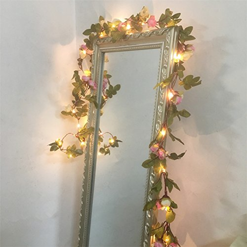 FLCSIed 2 Meter 20 LED Flower Leaf Garland Battery Operate Copper LED Fairy String Lights for Wedding Decoration Party Event with Timer Function (Rose)