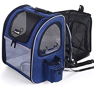 Pecute Pet Carrier Backpack Expandable, Portable Breathable Rucksack with Mesh Opening-Visible Acrylic-Safety Belt-Pockets, Extendable Back More Space Great For Carrying Puppy Dogs Cats Up to 15KG by Pecute