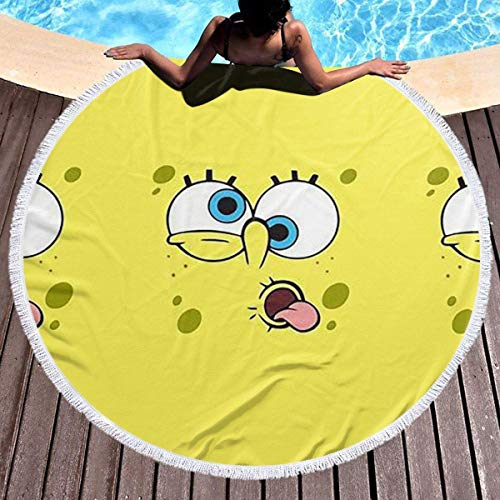 NULLYTG - Toalla de playa redonda con borlas y cara de Bob Esponja (muy suave, absorbente, multiusos, 150 cm)