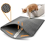 Conlun alfombra arena gatos 50x40cm, alfombrilla arenero gato, diseño de doble capa en forma de panal, orina y material impermeable, diseño de control de basura con asas laterales gris