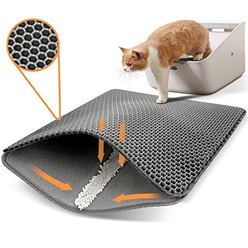 Conlun tappetino lettiera gatto 50x40cm, design a doppio strato a forma di nido d'ape, urina e materiale impermeabile, design di controllo della con maniglie laterali
