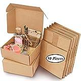 50 Piezas Cajas de Regalo, Caja de Regalo Papel Kraft, Cajas Cartón para Regalo, Cajas Papel Regalo Decorativas, 7,5 x 7,5 x 3cm Marrón Caja Embalaje Papel Kraft para Cumpleaños, Bodas, Navidad