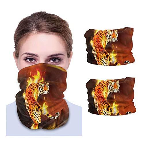 Máscara facial Bandana para cubierta de polvo Burning Tiger Seas of Flames Diadema cuello polaina 2 piezas