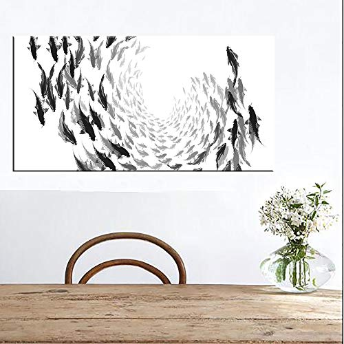 SLQUIET Rahmenloses Schwarzweiss-Fisch-Leinwandplakat minimalistisches Wandbild Zen Yoga-Leinwanddruck Gravur dekoratives Bild Bild Leinwand Kein Rahmen 70x140cm
