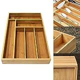 Rvest - Portaposate in bambù, per cucina, cassetto in bambù, per utensili da cucina