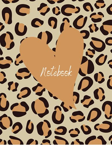 Notebook: Cheetah Heart Composition Notebook: 100 Pages | 8.5 x 11