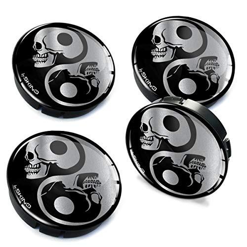 4 x 60mm 3D Wheel Hub Centre Caps Yin Yang Skull Center Rims C 82