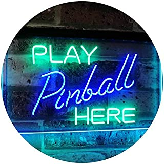 Pinball Room Play Here Display Game Man Cave Décor Dual Color LED Neon Sign Green & Blue 600 x 400mm st6s64-i2619-gb
