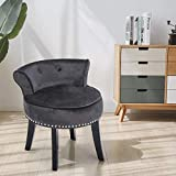 Velvet Makeup Vanity Chair and Stool for Bedroom with Roll Back Button and Rivet Deco Padded Bench Legs for Women and Girl Dressing Table Black