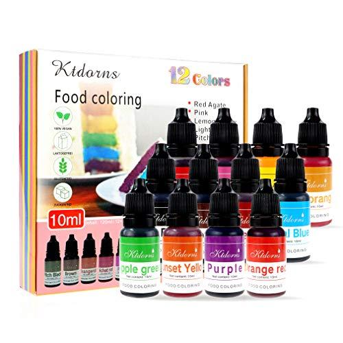 Pinceles para colorear alimentos Flo concentrados para alimentos líquidos – 12 colores con gran capacidad