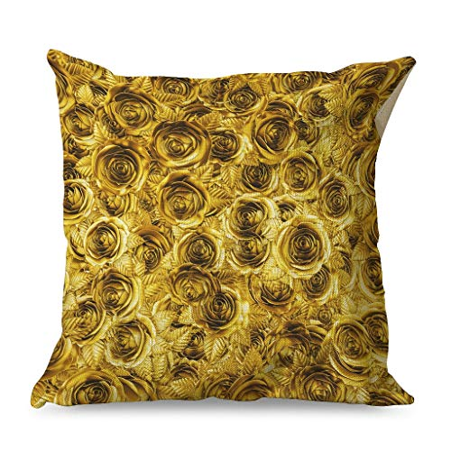 WellWellWell Rose Flowers Pillowcase Printed Stain Resistant Square Pillow use in Car Cushions for Tent with Hidden Zipper white 45x45cm