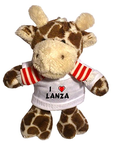 Giraffe Plush Keychain with I Love Lanza (first name/surname/nickname)