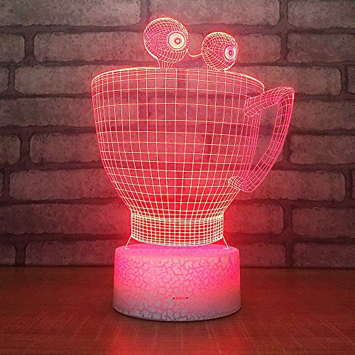 LED Nachtlicht 3D Optisch Illusion Kaffeetasse 7 Farben ändern Touch Switch Schreibtisch Lampen Smart Tischlampe mit USB Stromkabel für Kinder Geburtstag beste Geschenk Spielzeug Täuschung Lampe