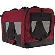 Red Soft-Sided Medium Folding Pet Travel Carrier Crate