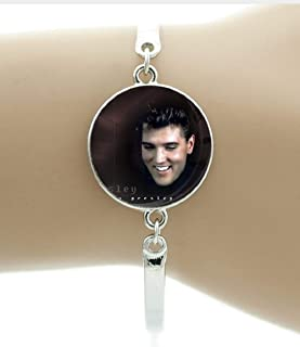 Smiling ELVIS Presley Bracelet is Perfect for a Loyal ELVIS Fan.Glass Cabochon Covers Photo
