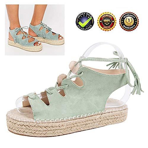 Sandals Wedges espadrilles High Peep Toe wigsandalen Plateau wighak dames zomer elegante enkelriem gesp plat leer comfortabele casual schoenen, 3 cm hoge hak groen