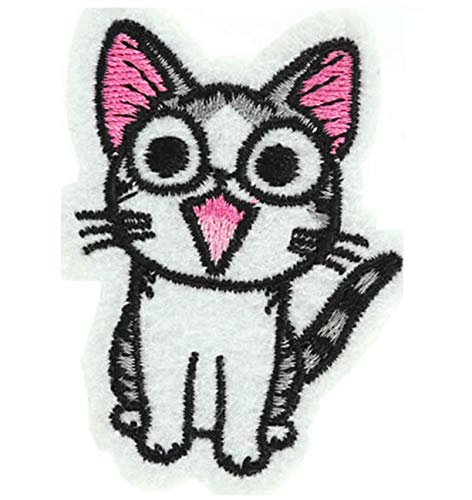 Happy Cat parche bordado hierro en o coser en bordado Diseño de gato amante transferencia apliques, diseño de gatos
