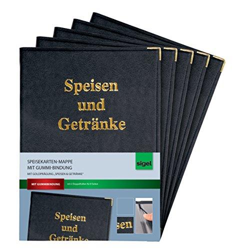 SIGEL SM100 Speisekarten-Mappen für A4, mit Gummi-Bindung, schwarz, 5er Pack - weitere Ausführungen