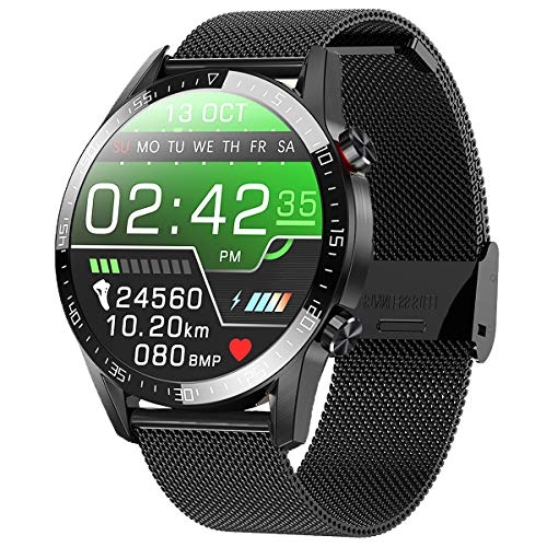 jpantech smartwatch,Fitness Watch Uhr Voller Touch Screen IP68 Wasserdicht Fitness Tracker Sportuhr mit Schrittzähler Pulsuhren Stoppuhr für smartwatch Damen Herren für iOS Android (Schwarz)