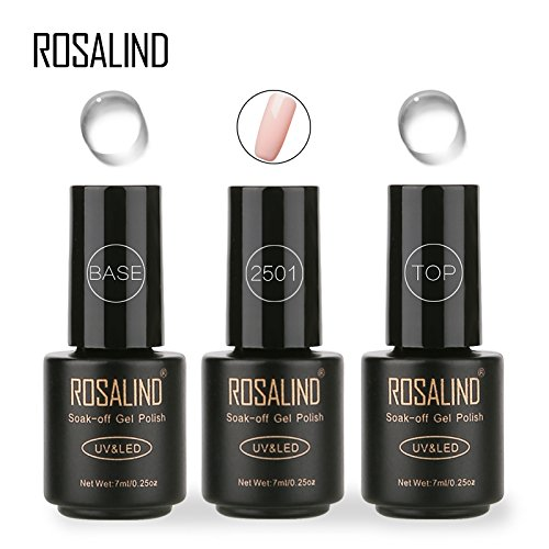ROSALIND 3 * 7ml Nude Color Nagelgelpoliermittel + Top Coat + Base Coat Langlebiger Saug UV-LED-Gel-Farben DIY Nail Art Design Polish Gel Set