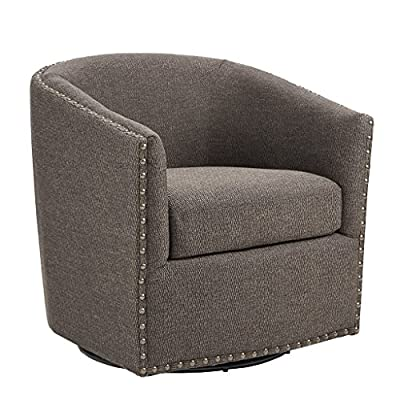 Madison Park Tyler Swivel Chair - Solid Wood, Plywood, Metal Base Accent Armchair Modern Classic Style Family Room Sofa Furniture