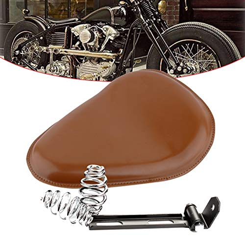 Qlhshop Motorcycle Brown Leather Solo Seat with Spring Bracket Kit Replacement for Harley Chopper Suzuki Yamaha