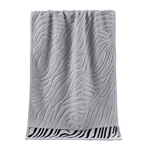 XCVB Serviette Coton Et Fibre De Bambou Visage Serviette Tissu Serviette De Cheveux Rectangle Doux Imprimé Salle De Bains Main Visage Serviettes 1 pc, Gris Clair, 34x75 cm