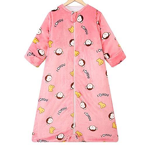 Herbst Und Winter Baumwolle Baby Schlafsack Dicke Kinder Anti-Kick-Quilt Anti-Milben-Artefakt Rosa Affe 1-3 Jahre Alt Schöne Paketdecke