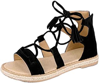 Fulision Womens Roman Flat Strap with Tassel Rope Straps Tassel Up Flat Sandals