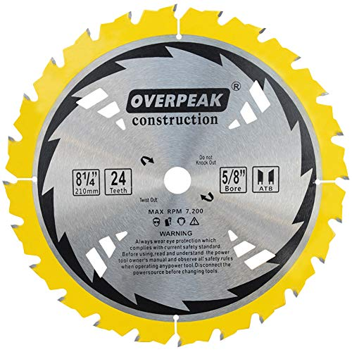 Overpeak 8-1/4-Inch Circular Saw Blades, 24 Tooth ATB Framing Saw Blade with 5/8-Inch Arbor for Soft&Hard Wood Cutting