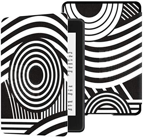 Funda de Tela Resistente al Agua para Kindle Paperwhite Completamente Nueva (décima generación, versión 2018), Estuche para Tableta Blanco y Negro con Rayas de composición Jc