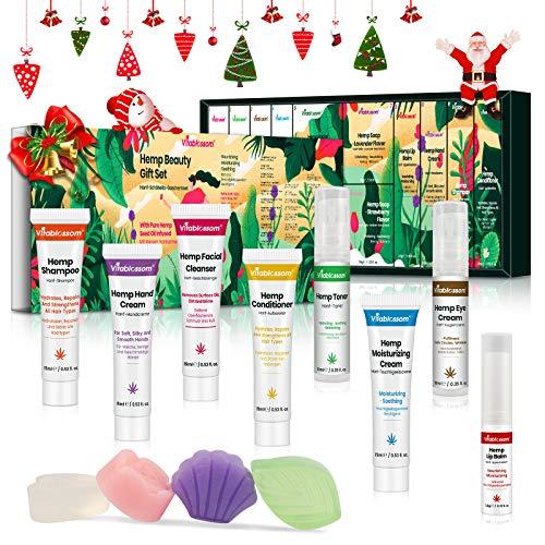 Hanf Beauty Geschenkset mit Augencreme 12 PCS, Gesichtsreiniger, Toner, Feuchtigkeitscreme, Gesichtsseife, Lippenbalsam, Handcreme, Shampoo, Conditioner, Weihnachts kleine geschenke für Frauen