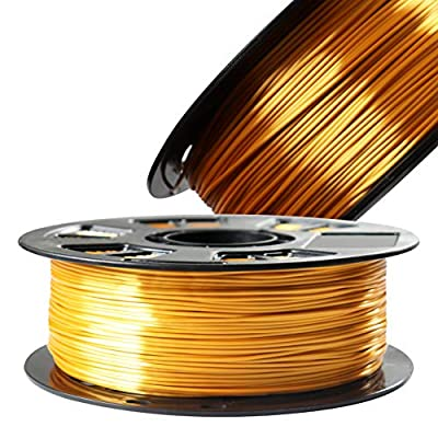 Silk Metallic Gold PLA 1.75mm 3D Printer Filament, 1kg Spool (2.2lbs) 3D Printing Material, Fit Most FDM Printer, with Extra Sample Pack Gift by DO3D