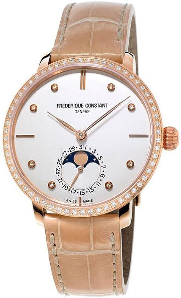 Frederique constant orologio da donna automatico fasi lunari placcato oro FC-703VD3SD4