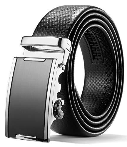 ITIEZY Herren Gürtel Ratsche Automatik Gürtel für Männer 35mm Breit Ledergürtel, Schwarz 128, Länge: Bis zu 49,21 Inches (125cm)