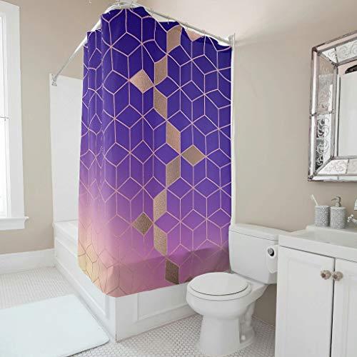 Cortina de ducha de color turquesa, diseño de cuadrícula degradada, resistente a la corrosión, juego de cortinas de baño con ganchos, arte moderno para adultos y niños, color blanco 5 120 x 200 cm