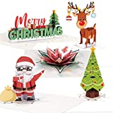 PaperLove 3D Pop Up Christmas Note Cards, Assorted 5 Pack   3.5' x 2.5'