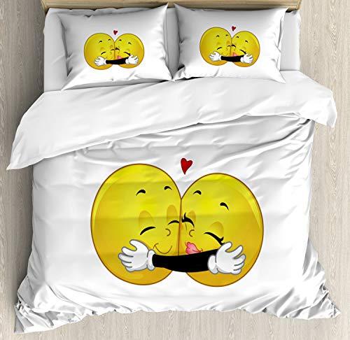 ABAKUHAUS Romántico Funda Nórdica, Emoticon Que Abraza la, 2 Fundas para Almohada Set Decorativo de 3 Piezas, 264 X 220 cm, Amarillo Negro Blanco