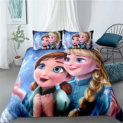 Amacigana Frozen Elsa y Anna - Juego Ropa de Cama,3 Piezas,1 Funda de edredón y 2 Funda de Almohada,100% Poliéster,Multicolor (A10,180 x 210 cm)