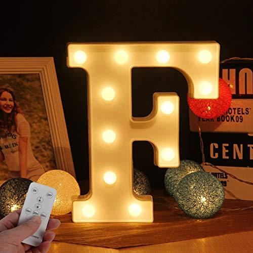 LED Buchstabe Lichter Alphabet LED Brief Licht Alphabet Zeichen mit drahtloser Timer Fernbedienung Dimmable Led dekoration für Geburtstag Party Hochzeit & Urlaub Haus Bar (Buchstabe F)