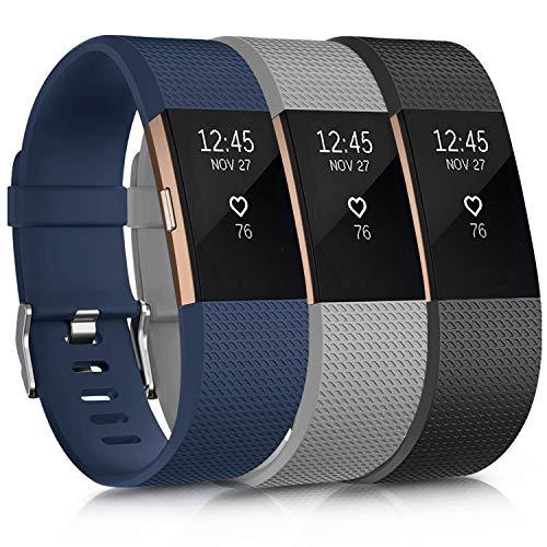 Oumida Bracelet Compatible pour Fitbit Charge 2, Bracelet de Montre pour Homme Femme Bracelet de Sport Silicone Réglable pour Fitbit Charge 2 Grand Petit (sans Montre) (S, 3PACK)
