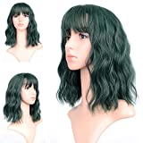 FAELBATY Wavy Wig Short Bob Green Wigs With Air Bangs Shoulder Length Wig For Women Curly Wavy Synthetic Cosplay Wig for Girl (12' Dark Green)