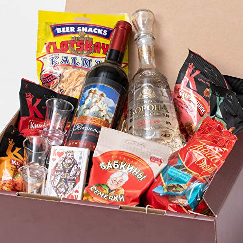 Russian-Box - Variation für den perfekten russischen Abend - Wodka, Wein, Pralinen, Sonnenblumenkerne und vieles mehr
