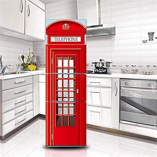 GLFQ Creativo Cabina Telefonica Adesivi per Frigo Etilene Adesivo Decorativo Frigorifero HD Frigorifero Porta Wrap Cover Rimovibile Fai da Te Art Decal (S)