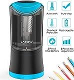 LATOW Taille-crayon électrique, 3 Trou et Réglage de 5 engrenages taille-crayon, automatiquement taillé pour le stylo 6/8/10/12 mm, 18650 batterie rechargeable ou alimenté par USB (inclus)