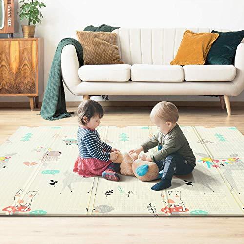 YISSVIC Tappeto Gioco Bambini 197×177×1.5cm Tappeto Bambini, Doppio Lato XPE Schiuma, Tappeto Pieghevole Gioco Neonato, Impermeabile/Antiscivolo/Portatile, Modello Giraffa/Panda