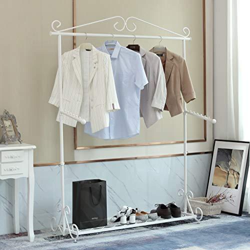 Loywe Kleiderständer Kleiderstange Garderobenständer mit Schuhablage, Breite 136cm,Vintage-Stil Metall Höhenverstellbar von 126 bis 200 cm (Weiß)