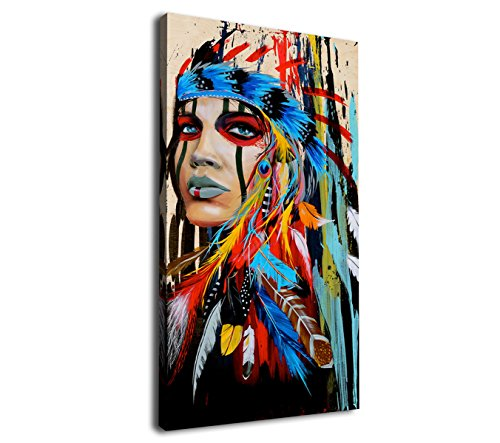 Canvas Wall Art Native American Indian Beauty Painting - Long Canvas Artwork Girl with Colorful Feathers Ethnologic Accessories Contemporary Picture for Home Office Wall Decor 40' x 20'
