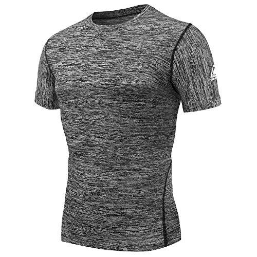AMZSPORT Maglia a Manica Corta Compression da Uomo Sport Baselayer Asciugatura Rapida T-Shirt Grigio Size S